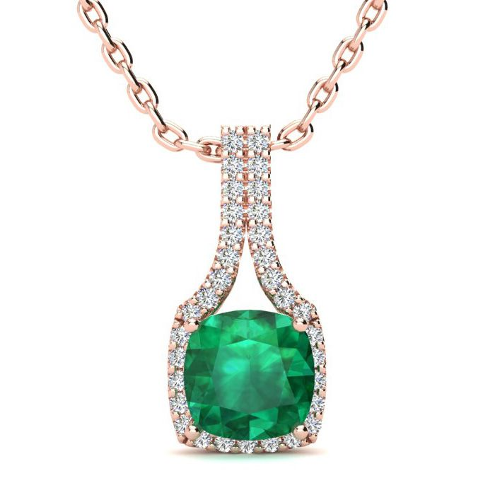 2 Carat Cushion Cut Emerald & Classic Halo Diamond Necklace in 14