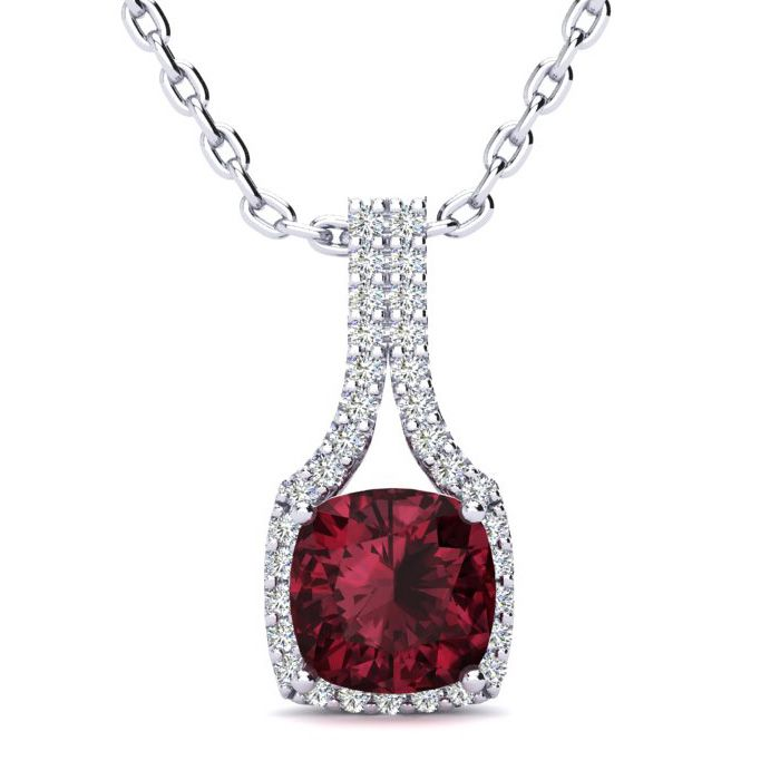 2 Carat Cushion Cut Garnet & Classic Halo Diamond Necklace in 14K