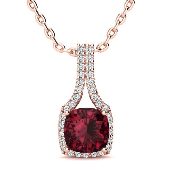 2 Carat Cushion Cut Garnet and Classic Halo Diamond Necklace In 14 Karat Ros..