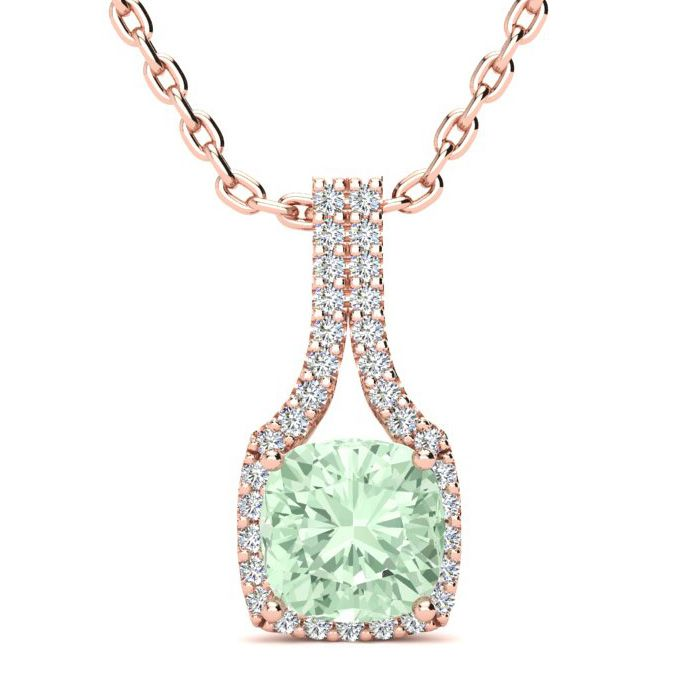 1 1/2 Carat Cushion Cut Green Amethyst and Classic Halo Diamond Necklace In ..