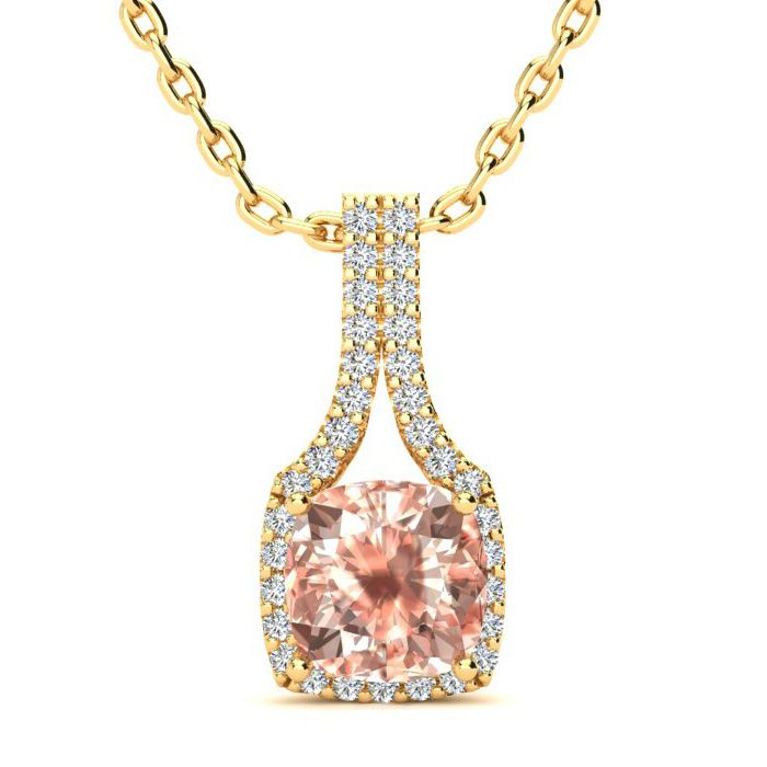 2 Carat Cushion Cut Morganite & Classic Halo Diamond Necklace in