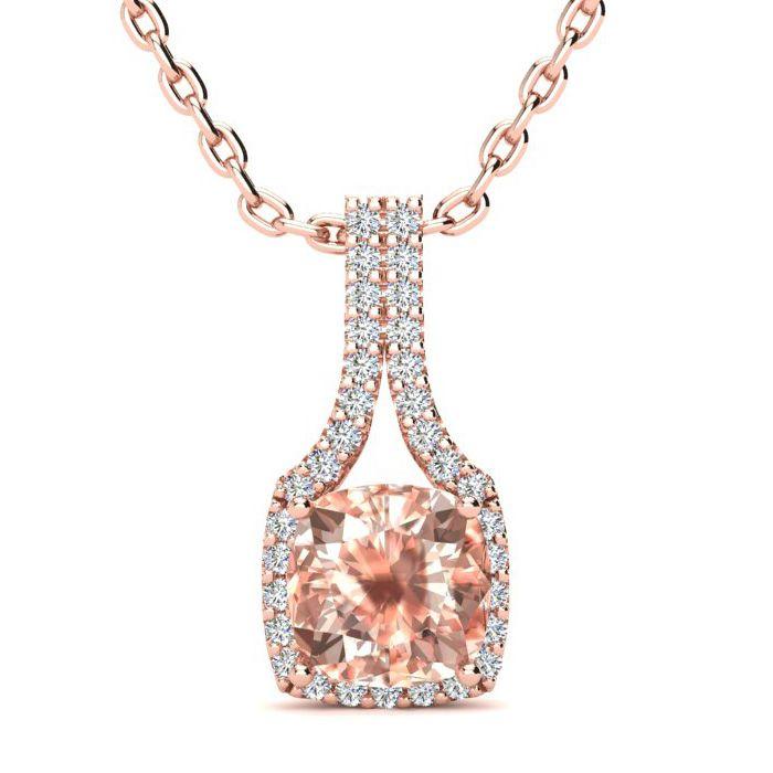 2 Carat Cushion Cut Morganite & Classic Halo Diamond Necklace in