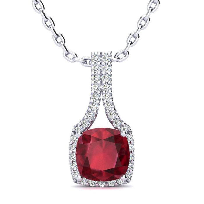2 Carat Cushion Cut Ruby & Classic Halo Diamond Necklace in 14K W