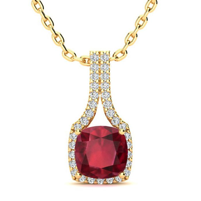 2 Carat Cushion Cut Ruby & Classic Halo Diamond Necklace in 14K Y
