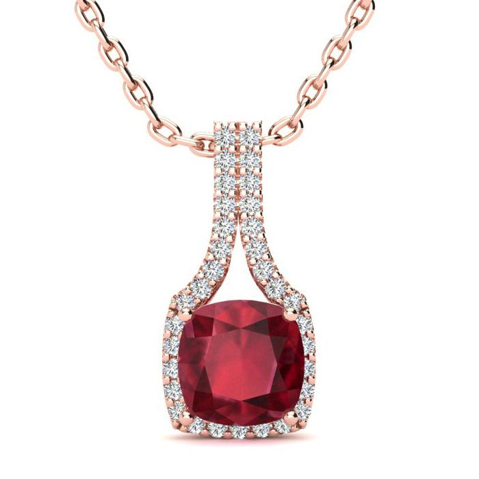 2 Carat Cushion Cut Ruby and Classic Halo Diamond Necklace In 14 Karat Rose ..