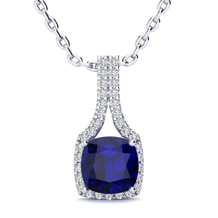 2 Carat Cushion Cut Sapphire and Classic Halo Diamond Necklace In 14 Karat W..