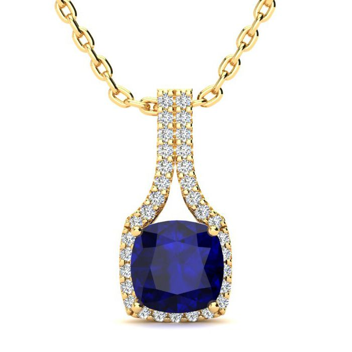 2 Carat Cushion Cut Sapphire and Classic Halo Diamond Necklace In 14 Karat Y..