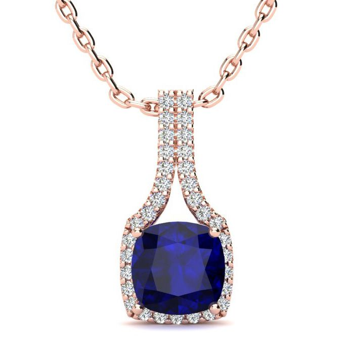 2 Carat Cushion Cut Sapphire and Classic Halo Diamond Necklace In 14 Karat R..
