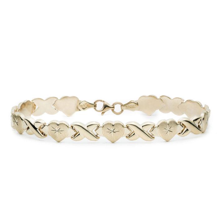 10K Yellow Gold Stamato XO Heart Bracelet,