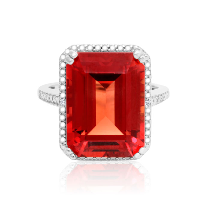 11 Carat Created Padparadscha Sapphire & Diamond Ring in Sterling Silver, J/K by SuperJeweler