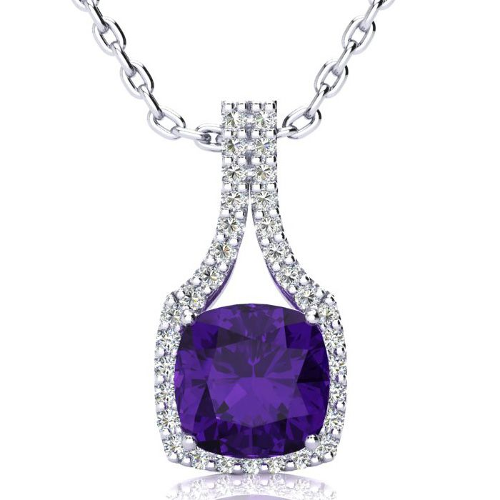 2 1/2 Carat Cushion Cut Amethyst and Classic Halo Diamond Necklace In 14 Kar..
