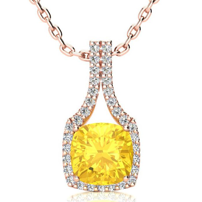 2 1/2 Carat Cushion Cut Citrine and Classic Halo Diamond Necklace In 14 Kara..