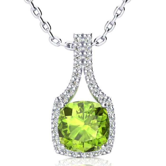 3 Carat Cushion Cut Peridot & Classic Halo Diamond Necklace in 14