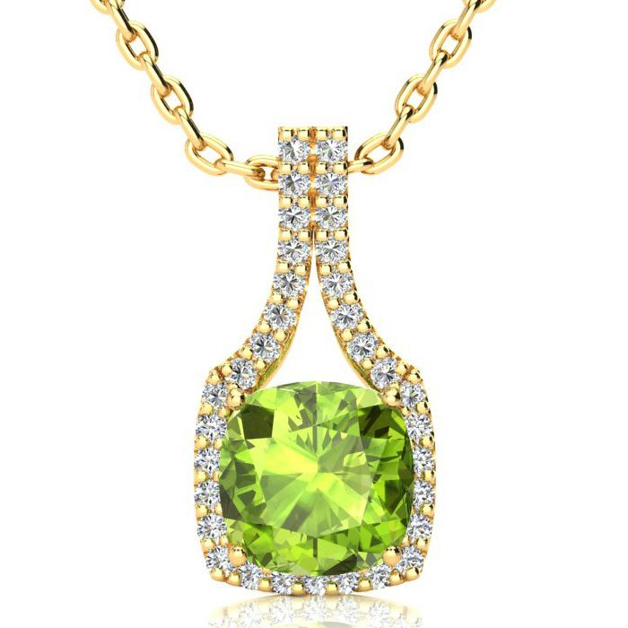 3 Carat Cushion Cut Peridot and Classic Halo Diamond Necklace In 14 Karat Ye..
