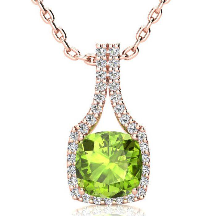 3 Carat Cushion Cut Peridot & Classic Halo Diamond Necklace in 14