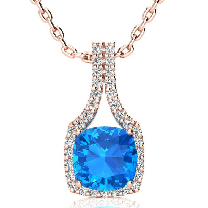 3 Carat Cushion Cut Blue Topaz & Classic Halo Diamond Necklace in