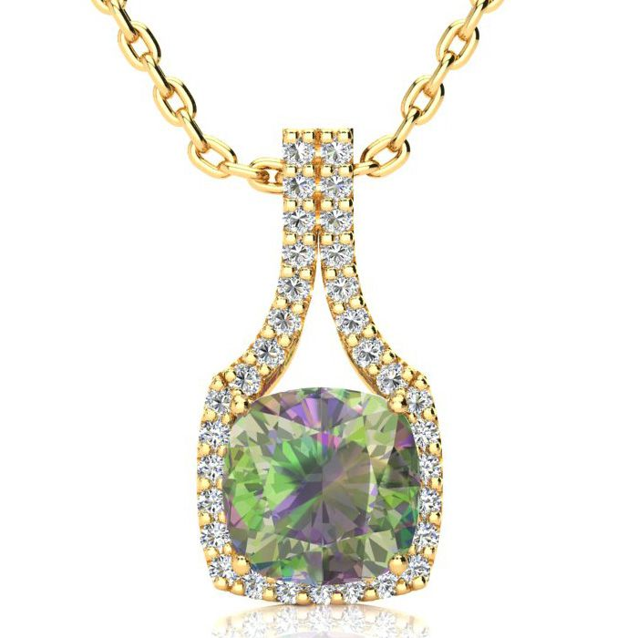 2.5 Carat Cushion Cut Mystic Topaz & Classic Halo Diamond Necklac
