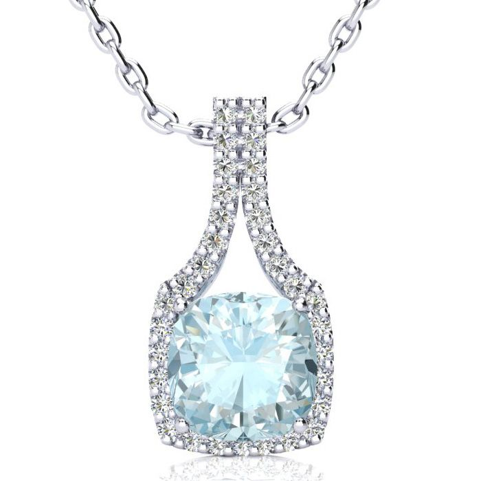 2.5 Carat Cushion Cut Aquamarine & Classic Halo Diamond Necklace