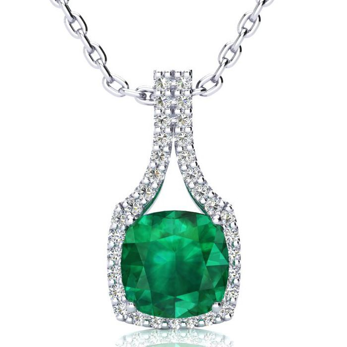 2.5 Carat Cushion Cut Emerald & Classic Halo Diamond Necklace in