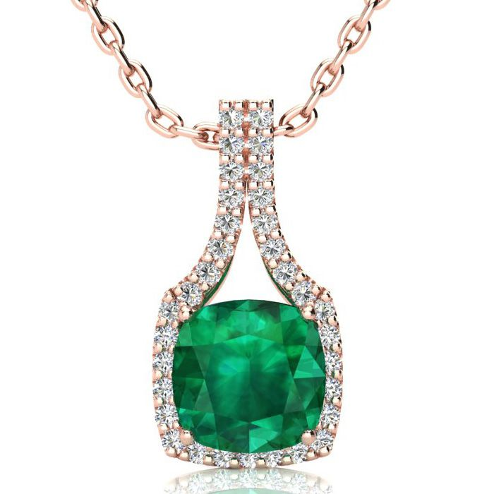 2.5 Carat Cushion Cut Emerald & Classic Halo Diamond Necklace in