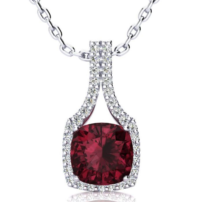 3 1/2 Carat Cushion Cut Garnet and Classic Halo Diamond Necklace In 14 Karat..