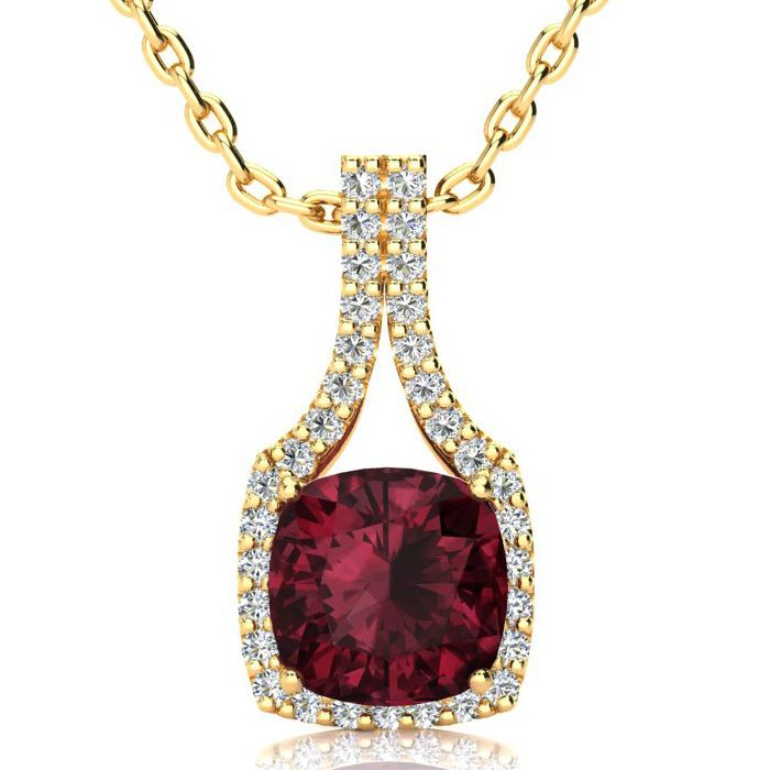 3 2/3 Carat Cushion Cut Garnet & Classic Halo Diamond Necklace in