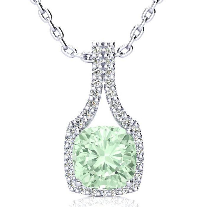 2.5 Carat Cushion Cut Green Amethyst & Classic Halo Diamond Neckl