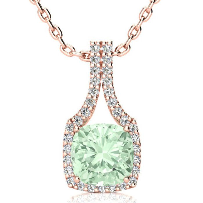 2 1/2 Carat Cushion Cut Green Amethyst and Classic Halo Diamond Necklace In ..