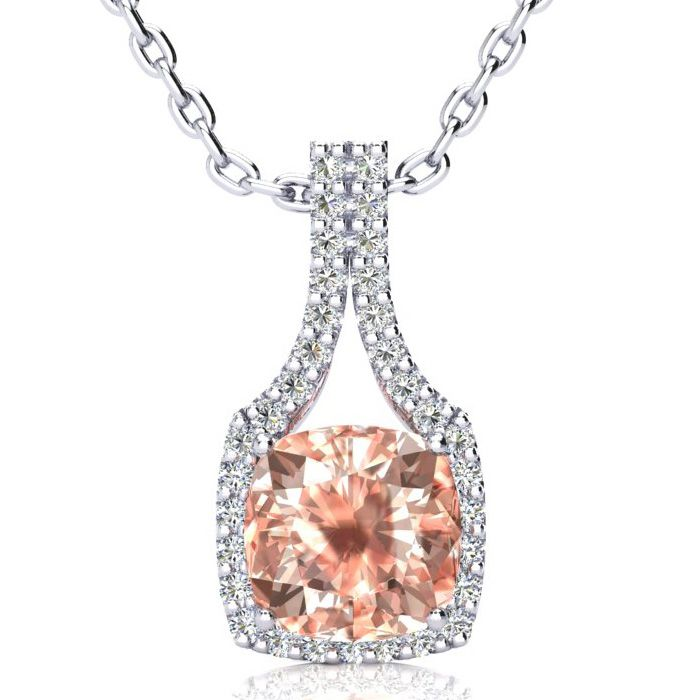 3 1/2 Carat Cushion Cut Morganite & Classic Halo Diamond Necklace