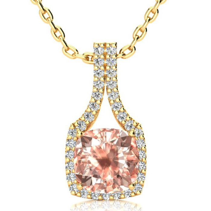 3 1/2 Carat Cushion Cut Morganite and Classic Halo Diamond Necklace In 14 Ka..