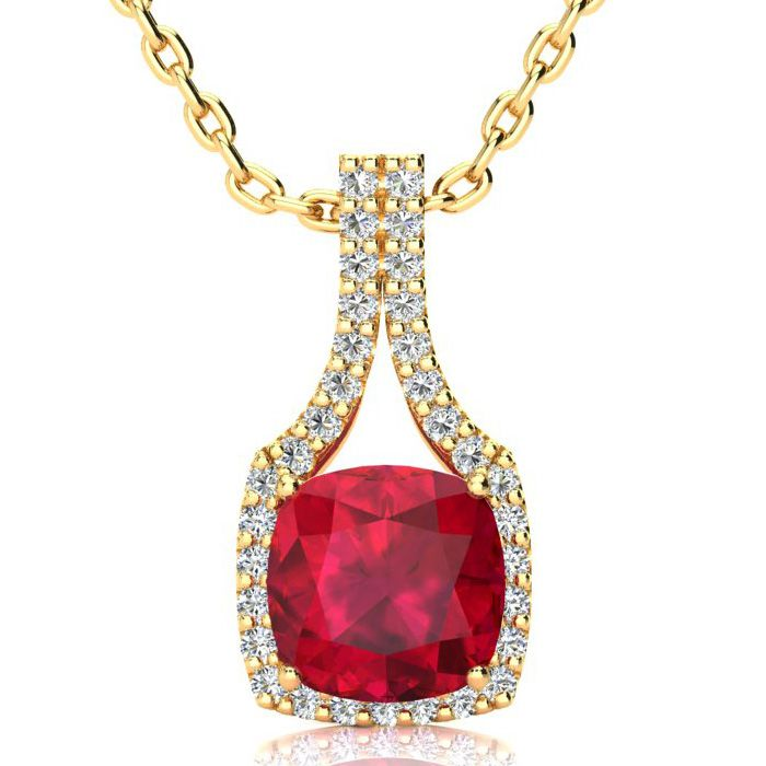 3 1/2 Carat Cushion Cut Ruby & Classic Halo Diamond Necklace in 1