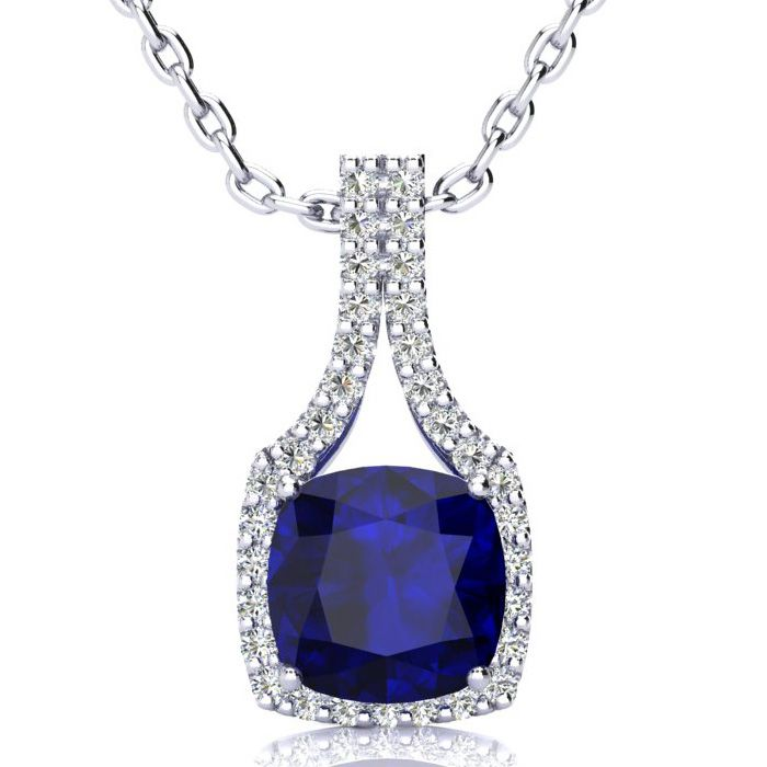 3 1/2 Carat Cushion Cut Sapphire & Classic Halo Diamond Necklace