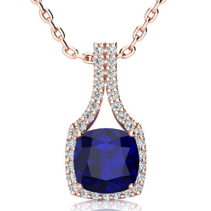3 1/2 Carat Cushion Cut Sapphire and Classic Halo Diamond Necklace In 14 Kar..