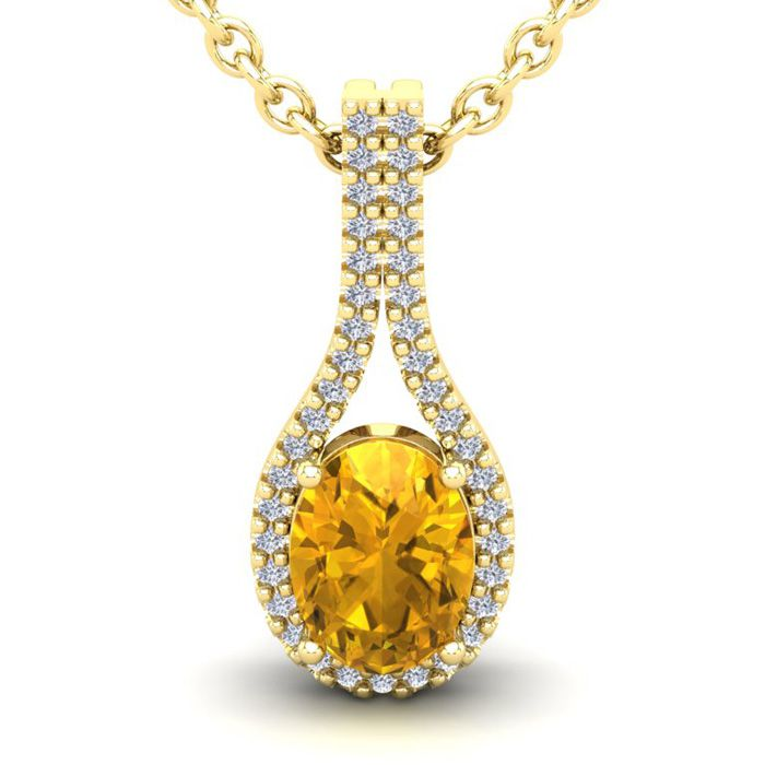 1.25 Carat Oval Shape Citrine & Halo Diamond Necklace in 14K Yell
