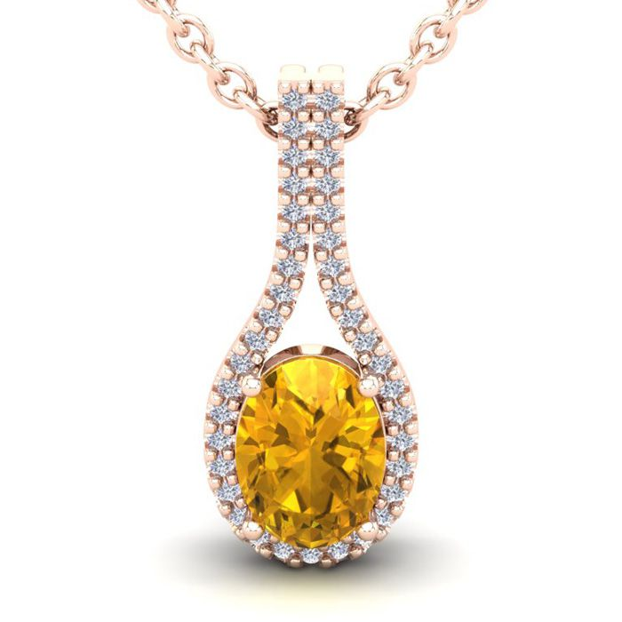 1.25 Carat Oval Shape Citrine & Halo Diamond Necklace in 14K Rose