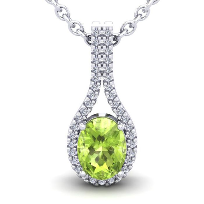 1.5 Carat Oval Shape Peridot & Halo Diamond Necklace in 14K White