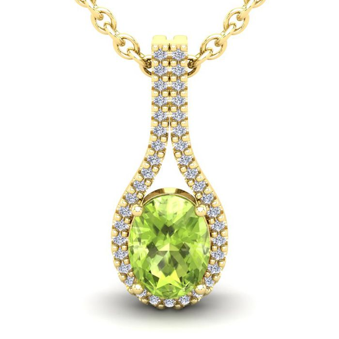 1.5 Carat Oval Shape Peridot & Halo Diamond Necklace in 14K Yellow Gold (2.2 g), 18 Inches, I/J by SuperJeweler