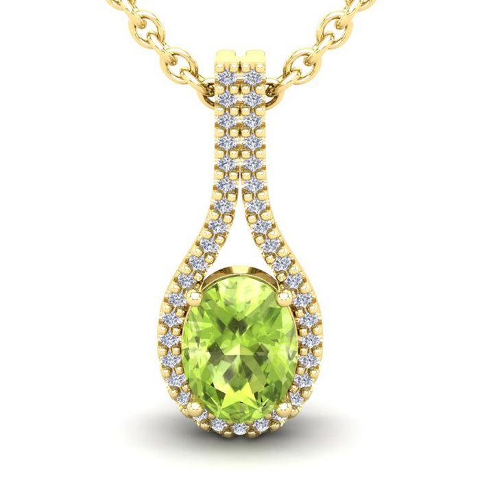 1.5 Carat Oval Shape Peridot & Halo Diamond Necklace in 14K Yello