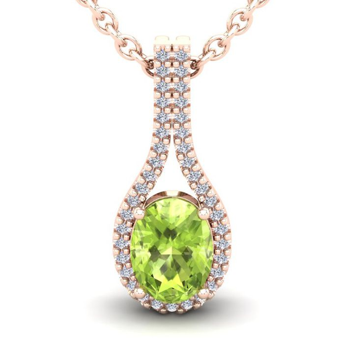 1.5 Carat Oval Shape Peridot & Halo Diamond Necklace in 14K Rose