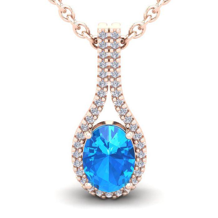1 3/4 Carat Oval Shape Blue Topaz & Halo Diamond Necklace in 14K