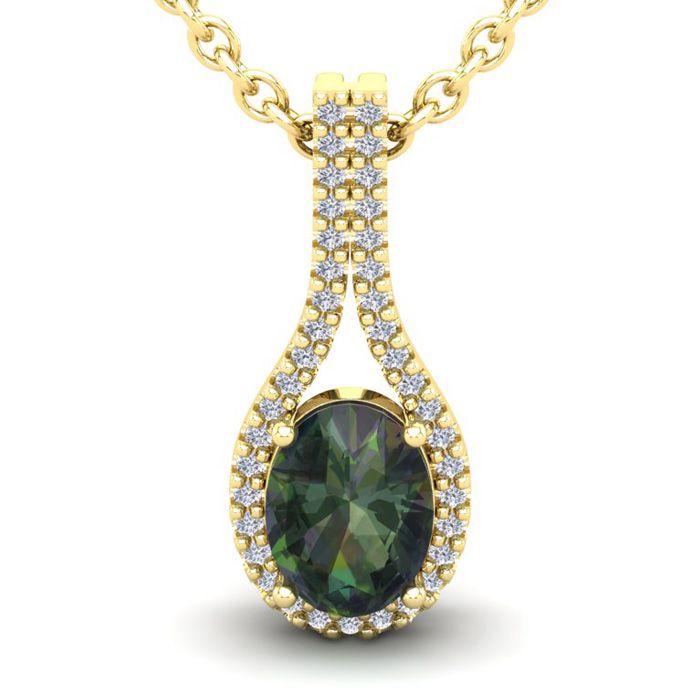 1.25 Carat Oval Shape Mystic Topaz & Halo Diamond Necklace in 14K