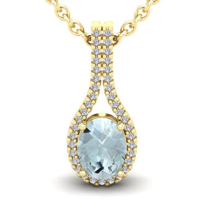 1 1/3 Carat Oval Shape Aquamarine & Halo Diamond Necklace in 14K Yellow Gold (2.2 g), 18 Inches, I/J by SuperJeweler