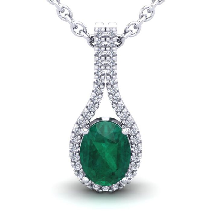 1 1/3 Carat Oval Shape Emerald Cut & Halo Diamond Necklace in 14K
