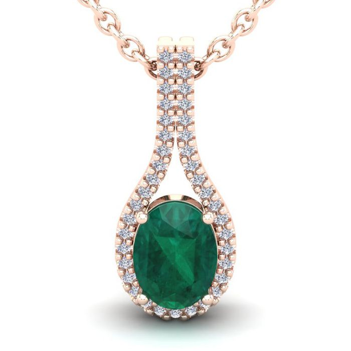 1 1/3 Carat Oval Shape Emerald Cut & Halo Diamond Necklace in 14K