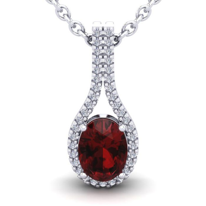 1 3/4 Carat Oval Shape Garnet & Halo Diamond Necklace in 14K Whit