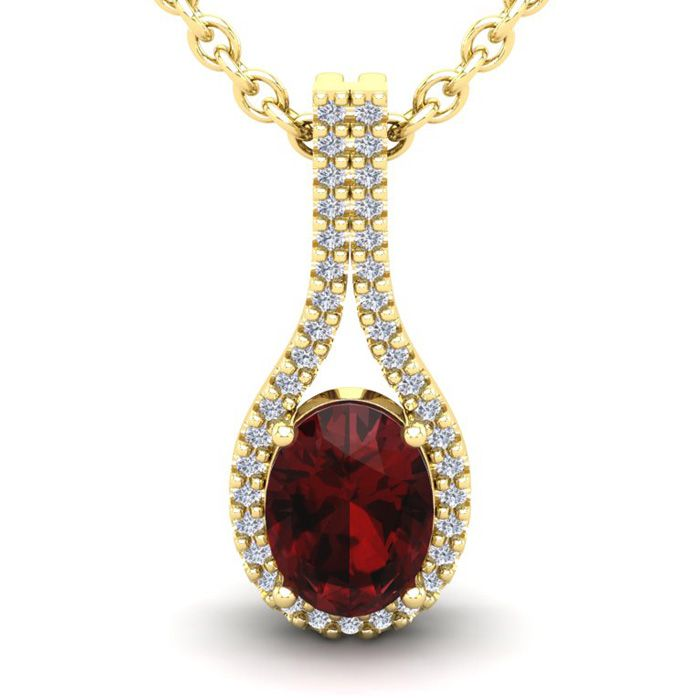 1 3/4 Carat Oval Shape Garnet & Halo Diamond Necklace in 14K Yellow Gold (2.2 g), 18 Inches, I/J by SuperJeweler