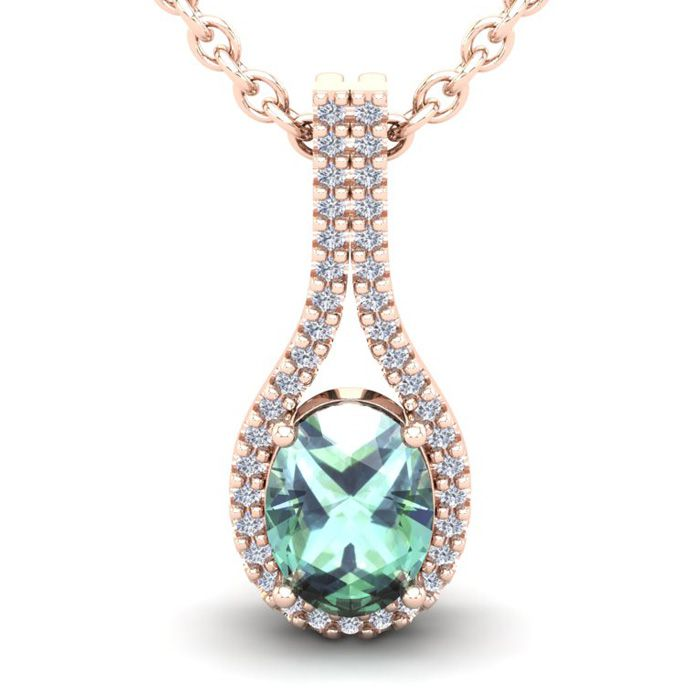 1.25 Carat Oval Shape Green Amethyst & Halo Diamond Necklace in 14K Rose Gold (2.2 g), 18 Inches, I/J by SuperJeweler