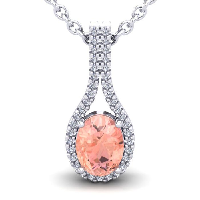 1 1/3 Carat Oval Shape Morganite & Halo Diamond Necklace in 14K White Gold (2.2 g), 18 Inches, I/J by SuperJeweler