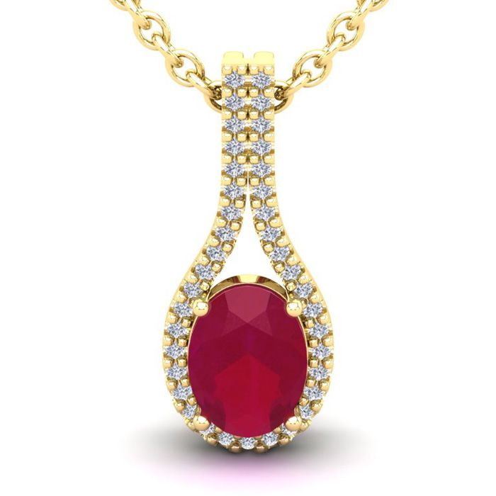 1 3/4 Carat Oval Shape Ruby & Halo Diamond Necklace in 14K Yellow