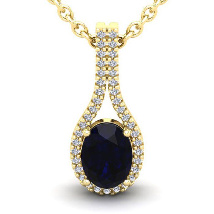 1 3/4 Carat Oval Shape Sapphire & Halo Diamond Necklace in 14K Ye